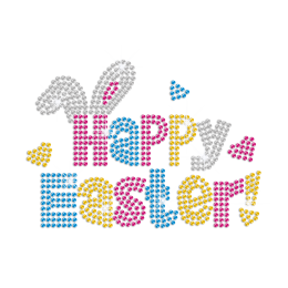 Colorful Happy Easter Iron on Rhinestone Transfer