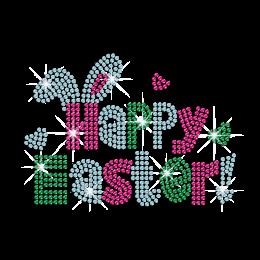 Happy Easter Rabbit Iron on Rhinestone Transfer