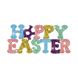 Colorful Happy Easter Iron on Glitter Rhinestone Transfer Decal