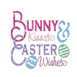 Bunny Kisses Easter Wishes Iron on Glitter Rhinestone Transfer Decal