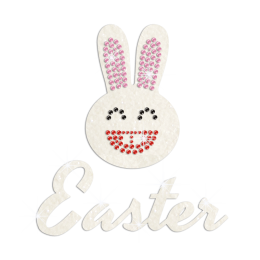 Cute Easter Smiling Bunny Iron on Glitter Rhinestone Transfer Motif