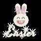 Cute Easter Smiling Bunny Iron on Glitter Rhinestone Transfer Motif