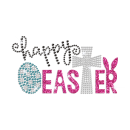 Bling Happy Easter Iron on Glitter Rhinestone Transfer Decal