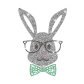 Glittering Bunny with Glasses Iron on Rhinestone Transfer Motif