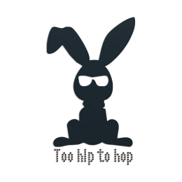 Bunny Too Hip To Hop Iron on Flock Rhinestone Transfer Motif