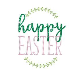 Wholesale Happy Easter Iron on Glitter Rhinestone Transfer Decal