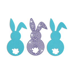 Three Easter Bunny Iron on Flock Rhinestone Transfer Decal
