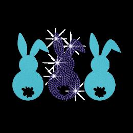 Three Easter Bunny Iron on Flock Rhinestone Transfer Decal