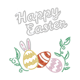 Happy Easter Bling Egg Iron on Glitter Rhinestone Transfer Decal