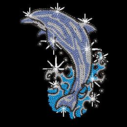 Rhinestone Elegant Dolphin with Blue Water Hot-fix Pattern