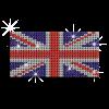 Bright British Flag Iron on Rhinestone Design for Clothes