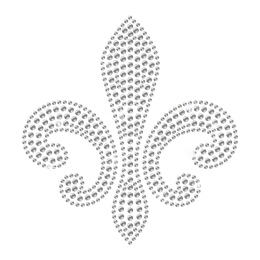 Simple Crystal Rhinestone Fleur de lis Hot-fix Motif