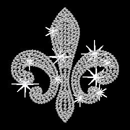 Simple Crystal Rhinestone Fleur de lis Hot-fix Motif