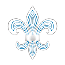 Crystal Blue Hot-fix Fleur de lis Strass Transfer