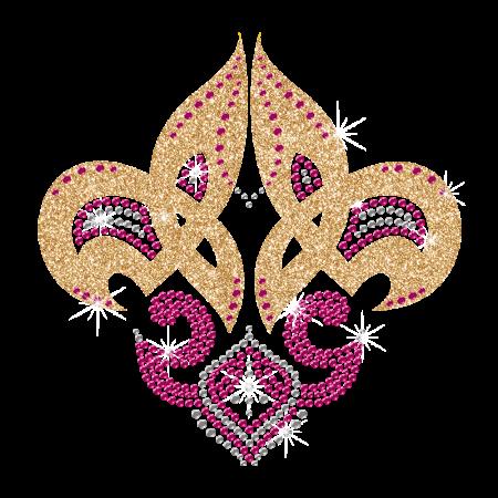 Shining Glitter Fleur de lis Hot-fix Motif