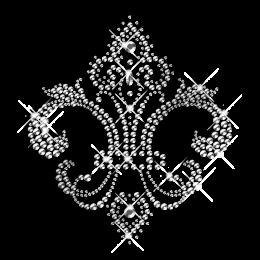 Crystal Rhinestone and Rhinestud Fleur De Lis Iron ons