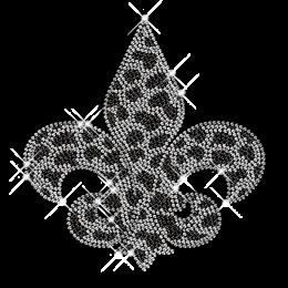 Crystal and Black Rhinestone Fleur De Lis Iron on Motif