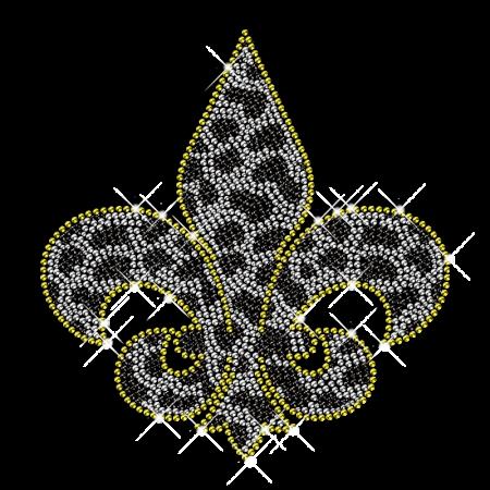 Spotted Rhinestone Fleur De Lis Iron ons