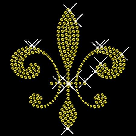Yellow Crystal Fleur De Lis Iron on Transfer