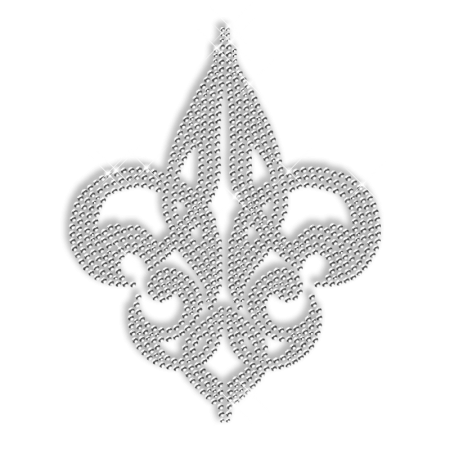 Crystal Rhinestone Fleur De Lis Iron on Transfer