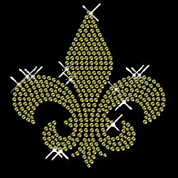 Gold Nailhead Round Fleur De Lis Pattern