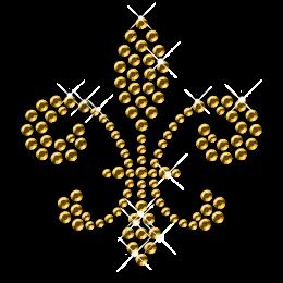 Gold Rhinestud Fleur De Lis Pattern