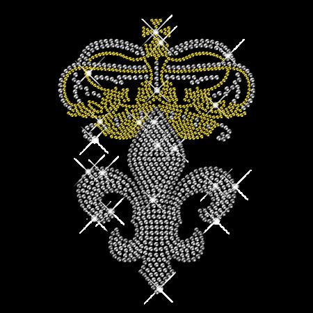 Crown and Fleur De Lis Rhinestone transfer