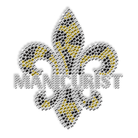 Sparkling Rhinestone and Rhinestud Fleur De Lis Iron on Design