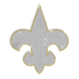 Crystal and Yellow Rhinestone Fleur De Lis Iron ons