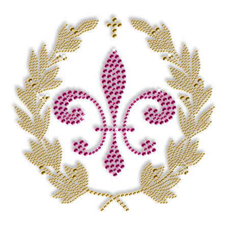 Gold and Pink  Fleur De Lis Iron ons