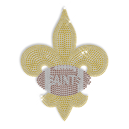 Gold Rhinestone and Rhinestud Fleur De Lis Transfers