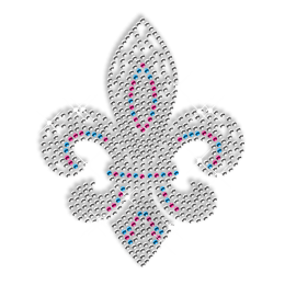 Rhinestud Fleur De Lis Iron on Transfer