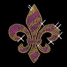 Gold and Purple Rhinestone Fleur De Lis Transfer
