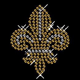 Crystal and Gold Rhinestone and Nailhead Round Fleur De Lis Transfers