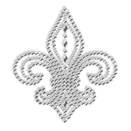 Crystal Rhinestone and Nailhead Fleur De Lis  Motif