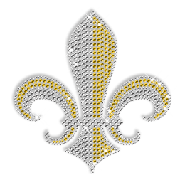 Crystal and Yellow Rhinestone Fleur De Lis Transfer
