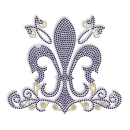 Best Custom Sparkling Blue Fleur De Lis Rhinestone Iron on Transfer Design for Shirts