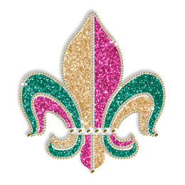 Best Custom Sparkle Fleur De Lis in Gold Green and Purple Rhinestone Iron on Transfer Design for Clothes