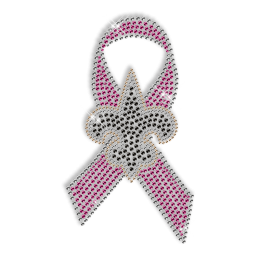 Best Custom Sparkle Black Fleur De Lis and Pink Ribbon Rhinestone Iron on Transfer Motif for Shirts