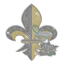 Best Custom Sparkle Fleur De Lis with Drink and Flower Rhinestone Iron on Transfer Motif for Clothes