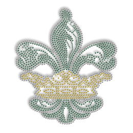 Best Custom Sparkle Green Fleur De Lis and Gold Crown Rhinestone Iron on Transfer Design for Clothes