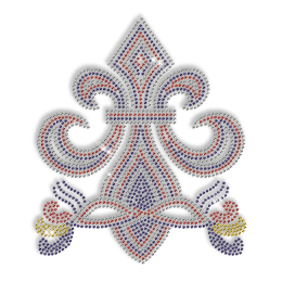 Custom Best Shinning Fleur De Lis in Blue and Red Diamante Iron on Transfer Motif for Clothes