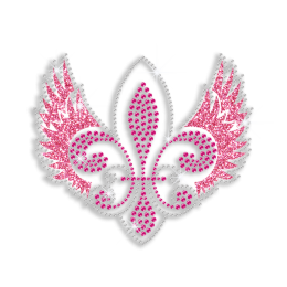 Pretty Pink Fleur De Lis with Wings Iron-on Glitter Rhinestone Transfer