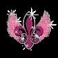 Pretty Pink Fleur De Lis with Wings Iron-on Glitter Rhinestone Transfer