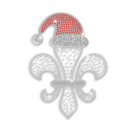 Crystal Fleur De Lis in Ruby Hat Iron-on Nailhead Rhinestone Transfer