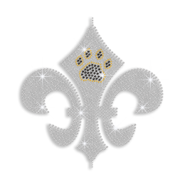 Crystal Fleur De Lis with Paw Print Iron on Rhinestone Transfer