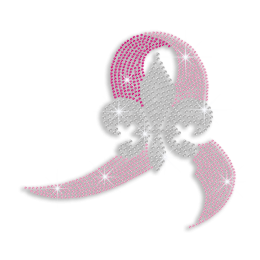 Crystal Fleur De Lis & Pink Ribbon Iron-on Studs Rhinestone Transfer