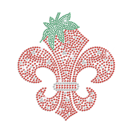 Big Red Fleur De Lis Strawberry Hotfix Rhinestone Transfer Design