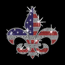 Shining Iron on America Iris Rhinestone Pattern