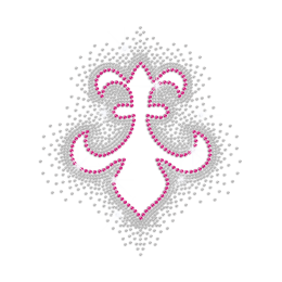 Hollowed Pink Fleur De Lis Hotfix Rhinestone Motif